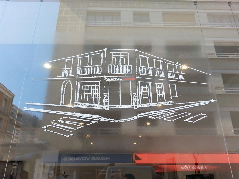 vitrophanie sur l'ensemble des vitrines de L'agence Immobilière LORIN