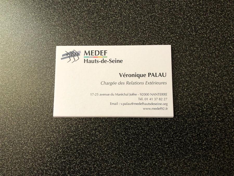 cartes de visites MEDEF : mise en page & impression par nos soins