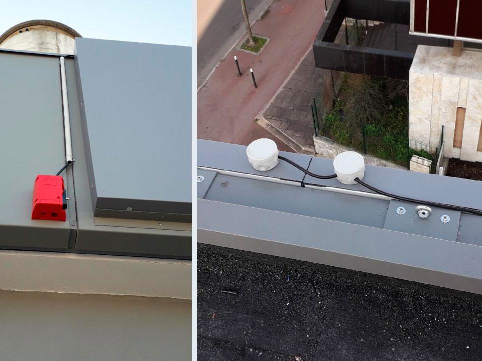 Raccordement électrique et installation coupure pompier enseigne suspendue restaurant ROOFTOP
