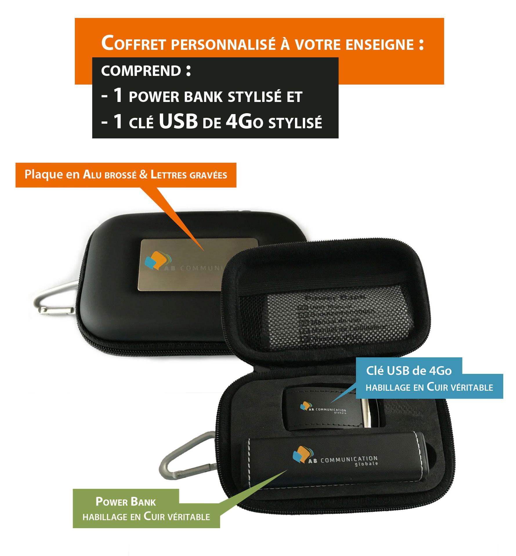 Coffret comprenant 1 POWER BANK et 1 clé USB 4Go, entièrement stylisé à votre enseigne et avec habillage en cuir