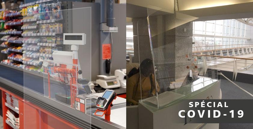 COVID-19 : Vitre en plexiglass pour comptoir pour la protection de votre personnel face au risque de contamination